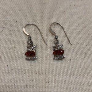 Jewelry - Sterling Silver Garnet Earrings - Owl design